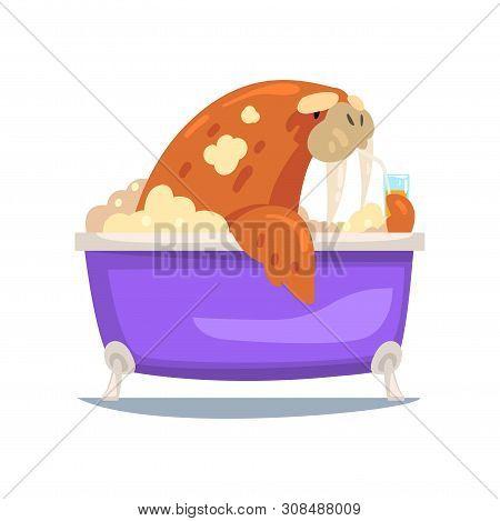 Walrus Taking Bath, Funny Animal Cartoon Character Relaxing In Bathtub Full Of Foam Vector Illustrat