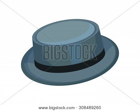 Gray Brimmed Hat. Vector Illustration On White Background.