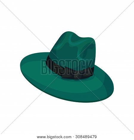 Green Hat With Wide Brim For Men. Vector Illustration On White Background.
