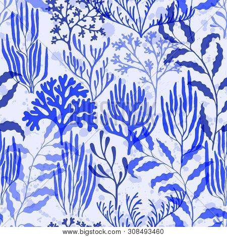 Coral Reef Seamless Pattern. Kelp Laminaria Seaweed Algae Background. Underwater Plants Fabric Vecto
