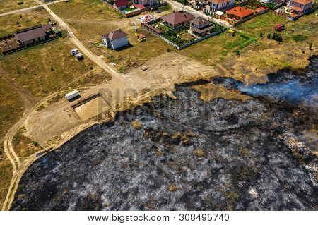 Heavy Smoke In Steppe. Forest And Steppe Fires Destroy Field, Steppes During Severe Droughts. Fire,