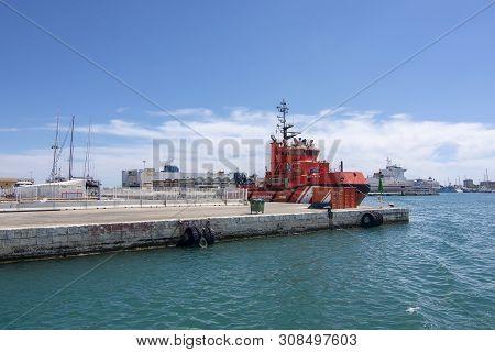 Old Palma Harbor Red Coastguard Vessel