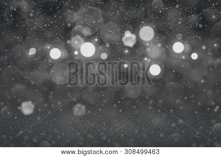 Nice Bright Abstract Background Glitter Lights With Falling Snow Flakes Fly Defocused Bokeh - Festal