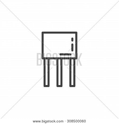 Transistor Chip Line Icon. Linear Style Sign For Mobile Concept And Web Design. Semiconductor Device