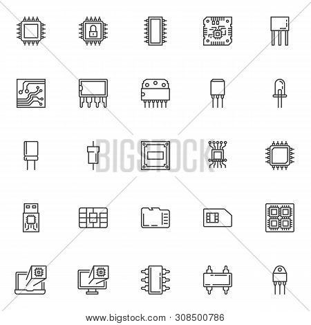 Computer Microchip Line Icons Set. Linear Style Symbols Collection Outline Signs Pack. Vector Graphi