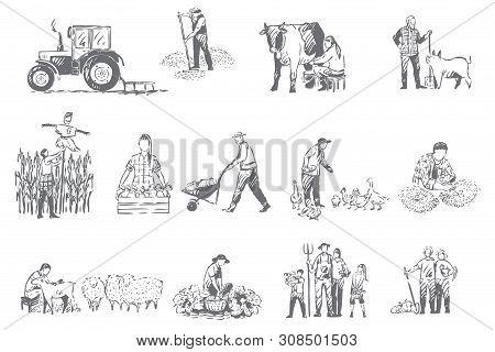 Farming Business, Rural Economy Concept Sketch. Farmer Lifestyle, Livestock Breeding, Seasonal Harve