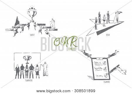 Okr, Target, Focus, Teamwork, Planning Concept Sketch. Objective, Key And Result, Flying Muslim Busi