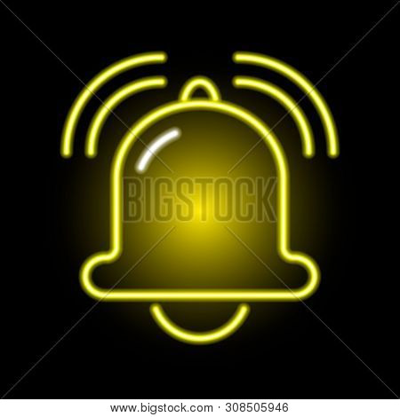 Neon Icon Of A Golden Noisy Ringing Bell On Background