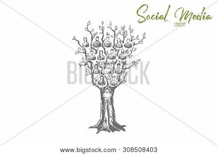 Social Media Concept Sketch. Tree With Online Network Users On Branches, Internet Connection, Commun