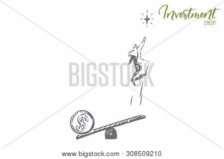 Startup Concept Sketch. Arab Man Jumping On Seesaw. Successful Funds Using, Capital Formation, Goal