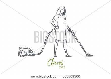 Vacuum cleaning concept sketch. Household chores, housekeeper routine, faceless young housewife working with domestic appliance, cleaner, housework, housekeeping banner. Isolated vector illustration poster
