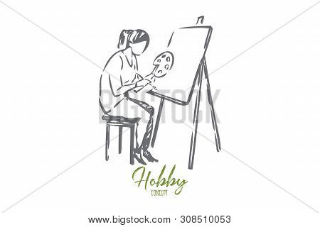 Painter Concept Sketch. Artist Drawing On Canvas With Paint. Creating Artwork At Home. Spending Free