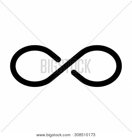 Black Infinity Symbol Icon. Concept Of Infinite, Limitless And Endless. Simple Flat Vector Design El