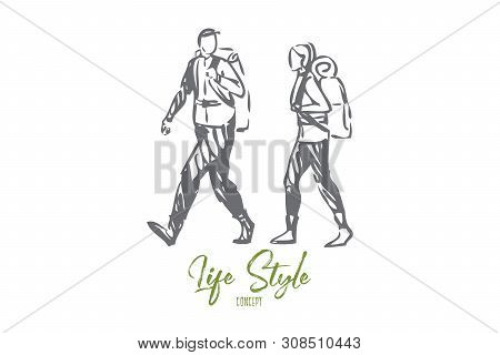 Tourism Life Style Concept Sketch. Walking In Woods. Hiking, Trekking Through Wilderness, Forest, Mo