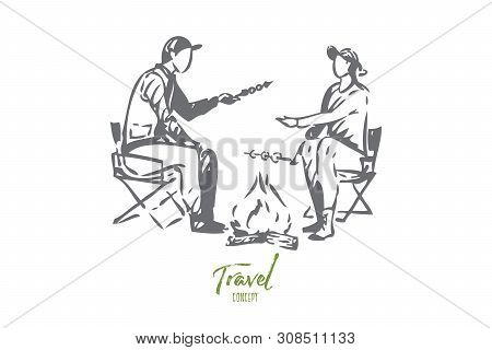 Travel With Family Concept Sketch. Roasting Marshmallows. Sitting Around Campfire With Significant O