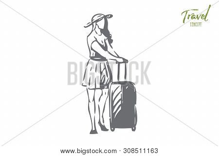 Voyage Concept Sketch. Going To Different Country By Airplane. Girl With Packed Baggage, Luggage. To