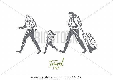 Travel On Foot Concept Sketch. Family Going On Trip. Walking Through Airport With Luggage. Activity