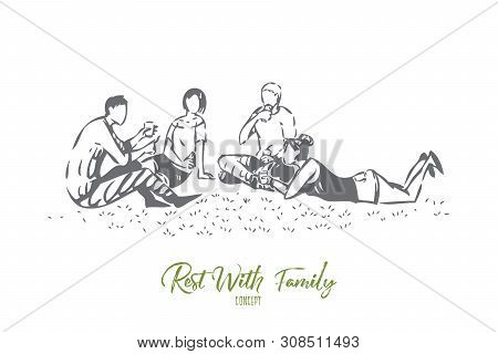 Outing With Family Concept Sketch. Going On Picnic Together. Drinking And Laying On Grass. Friends T