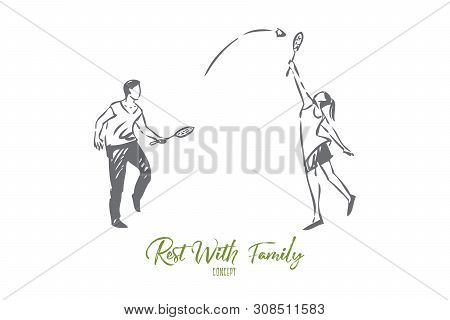 Sports With Family Concept Sketch. Couple Playing Badminton Together. Having Fun With Significant Ot