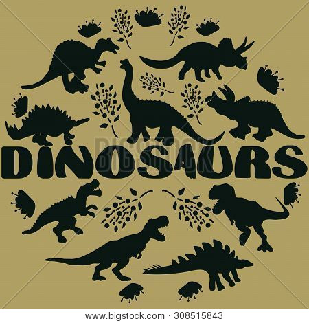 Black Silhouette Dinosaurs Round Flat Hand Drawn Composition. Hand Written Lettering Dinosaurs. Circ