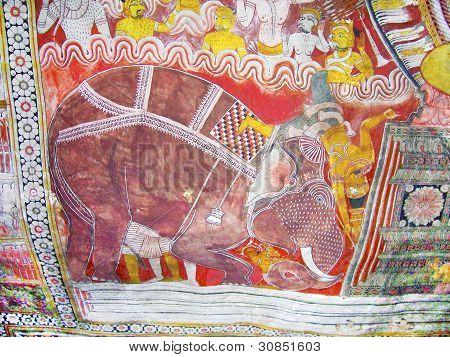 Religious Paintings Inside Of Rock Temple In Dambulla