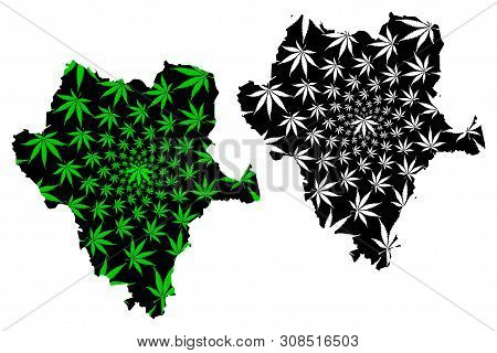 Durango (united Mexican States, Mexico, Federal Republic) Map Is Designed Cannabis Leaf Green And Bl