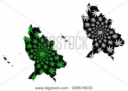 Nayarit (united Mexican States, Mexico) Map Is Designed Cannabis Leaf Green And Black, Free And Sove