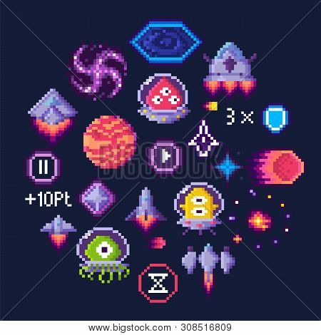 Pixel Game Icons Vector, Planet And Spaceship, Aliens In Uniforms. Hourglass And Button, Transport A