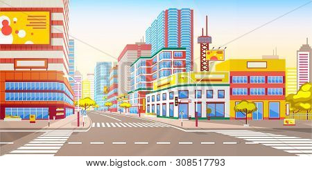 City With Skyscrapers And High Buildings Vector, Tall Constructions And Towers On City Street, Town