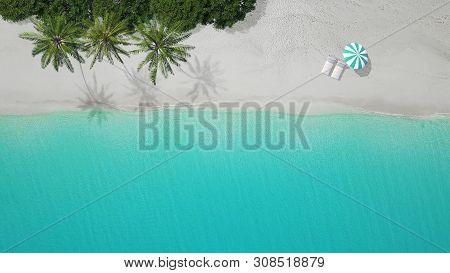 3d-illustration Aerial View Of Sandy Beach. Exuma Bahamas