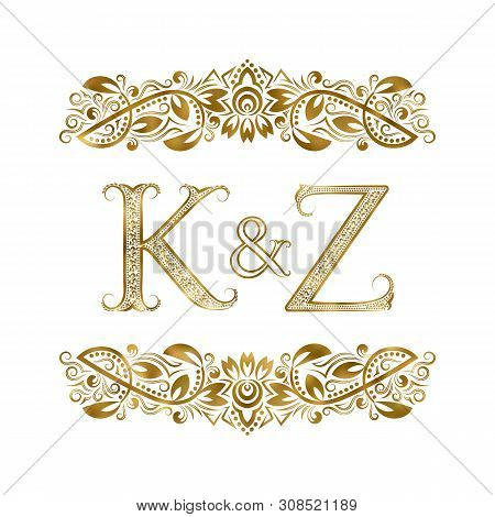 K And Z Vintage Initials Logo Symbol. The Letters Are Surrounded By Ornamental Elements. Wedding Or