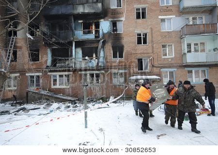 Fire in an apartment house.