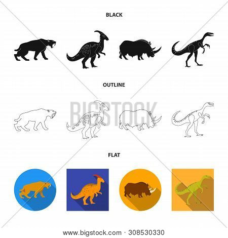 Vector Design Of Animal And Character Sign. Set Of Animal And Ancient Vector Icon For Stock.