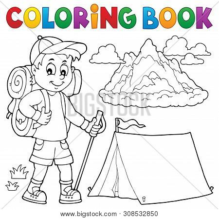 Coloring Book Hiker Boy Topic 1 - Eps10 Vector Picture Illustration.