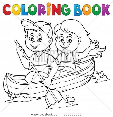 Coloring Book Kids In Boat Theme 1 - Eps10 Vector Picture Illustration.