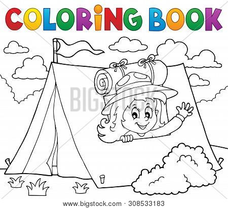 Coloring Book Scout Girl In Tent 1 - Eps10 Vector Picture Illustration.