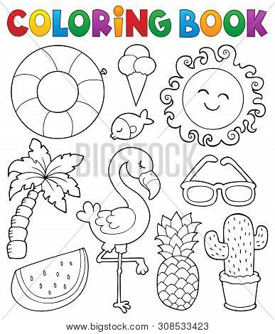 Coloring Book Summer Theme Collection 1 - Eps10 Vector Picture Illustration.