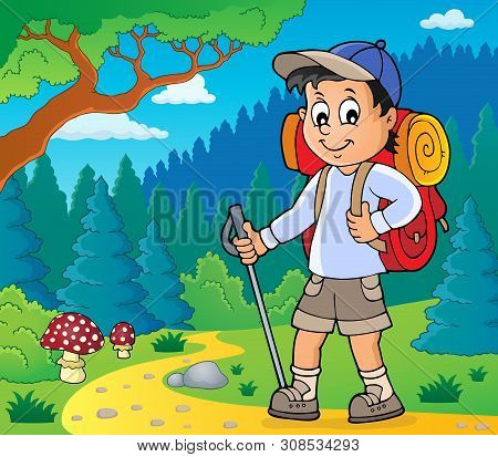 Image With Hiker Boy Topic 2 - Eps10 Vector Picture Illustration.