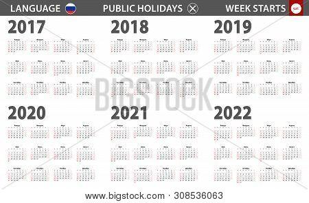2017-2022 Year Calendar In Russian Language, Week Starts From Sunday. Vector Calendar.