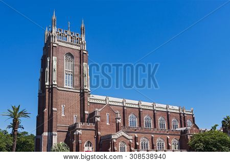 Nave And Bell Tower Exterior Of Landmark Church In New Orleans Louisiana