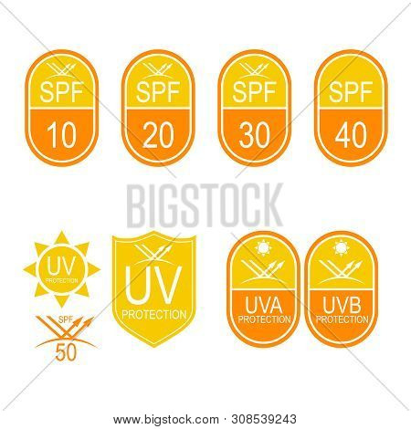Vector Set Icons Spf. Protection From The Sun Uv, Uvb, Uva Rays.