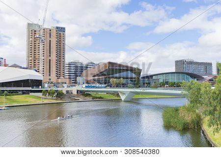 Adelaide, Australia - January 31, 2019: The Riverbank Precinct Of Adelaide With Footbridge Across Ri