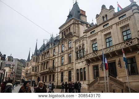 Luxembourg, November 17: People Walk In Front Of Grand Ducal Palace In Luxembourg On November 17, 20