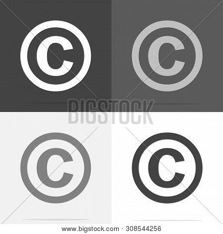 Vector Icon Copyright. Set Of Copyright Icon On White-grey-black Color.