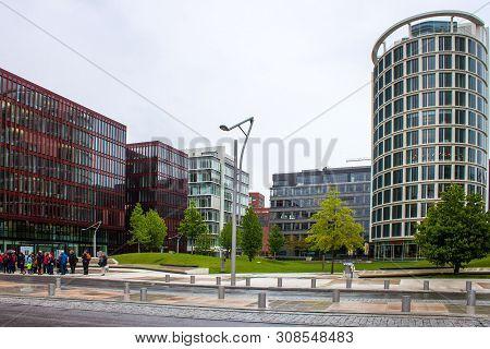 Hamburg, Germany - May 23: Modern Buildings In Speicherstadt District - Hafencity In Hamburg, German
