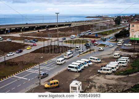 Trabzon, Turkey - February 19: Traffic On A Coastal Road In Trabzon, Turkey On February 19, 2013. Tr