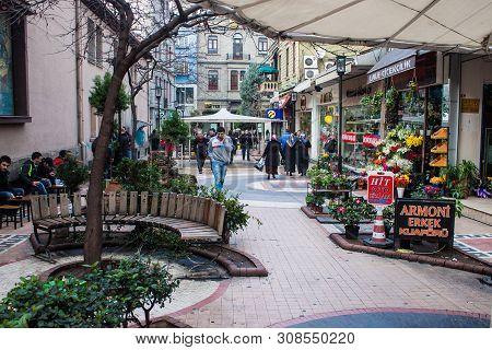 Trabzon, Turkey - February 19: Unidentified People Walk On A Pedestrian Zone In Trabzon, Turkey On F