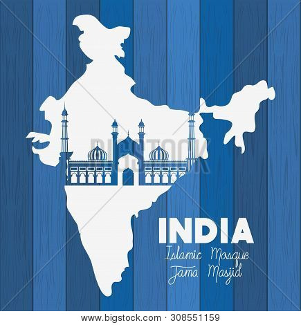 Indian Jama Masjid Temple With Map Background Vector Illustration Design