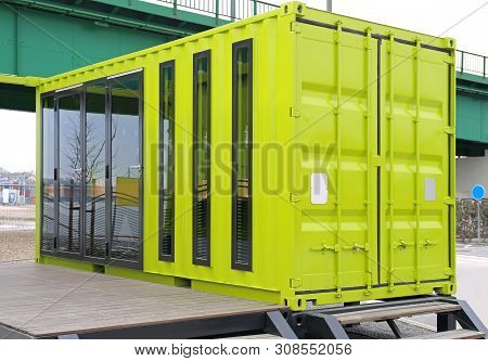 Green Cargo Container Converted For Living Small Home