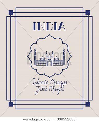 Indian Jama Masjid Temple With Square Frame Vector Illustration Design